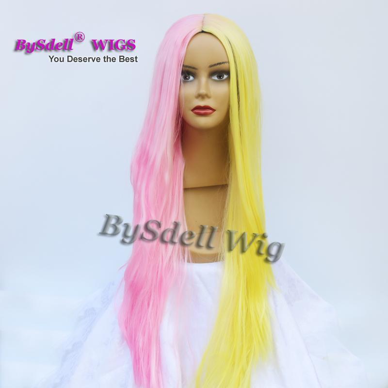 الجمال المتناثرة الباستيل الأصفر المشترك اللون الوردي الباروكة الاصطناعية طويل مستقيم أيا الدنتلة / الدانتيل الجبهة الباروكة / كامل الرباط الباروكات للبيع