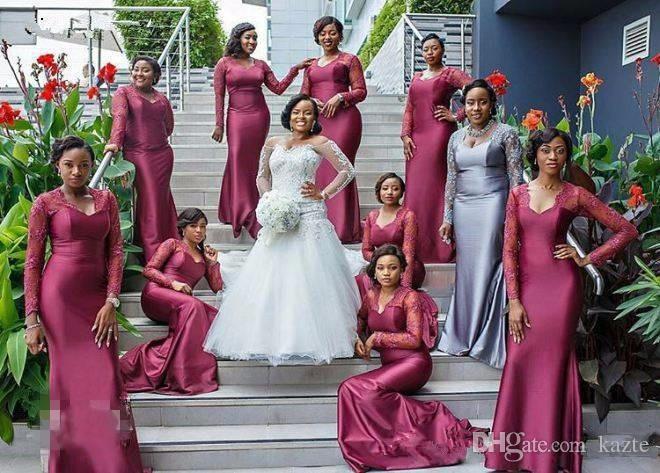 Robes de demoiselle d'honneur sud-africaine pour la dentelle de mariage manches longues Mermaid Maid of Honore Weaping Longueur Durée De Mariage Robe Formelle Pas cher