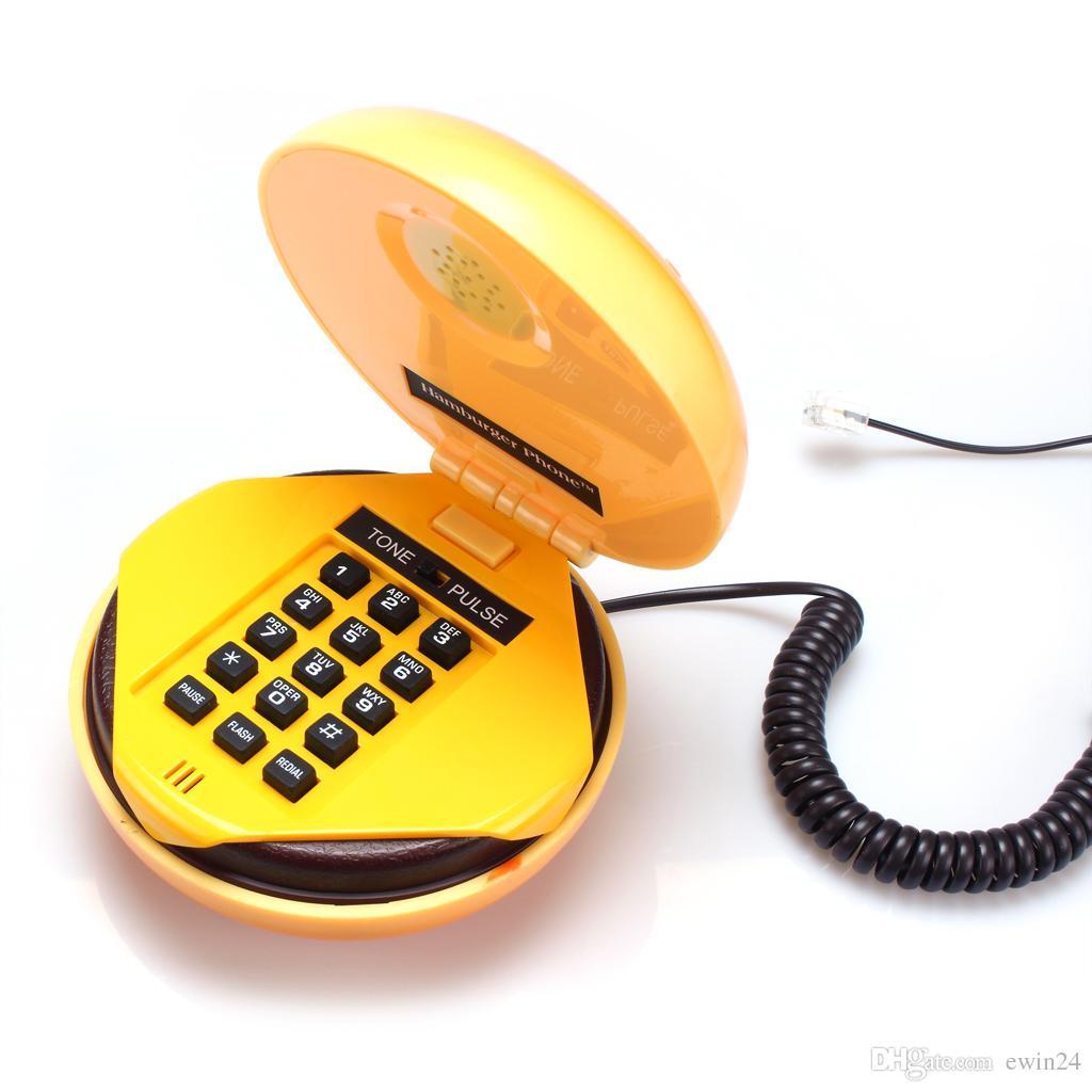 Lovelty Sevimli Telefon Telefon Ev Masaüstü Kablolu Hamburger Vivid Hamburger Şekil Telefon Telefon Yeni Marka EWIN24 Tarafından Satılan
