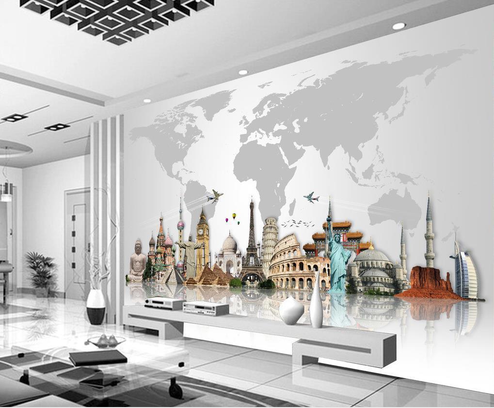 Acquista mondo famoso edificio mappa tv sfondo murale 3d for Interior designer famosi