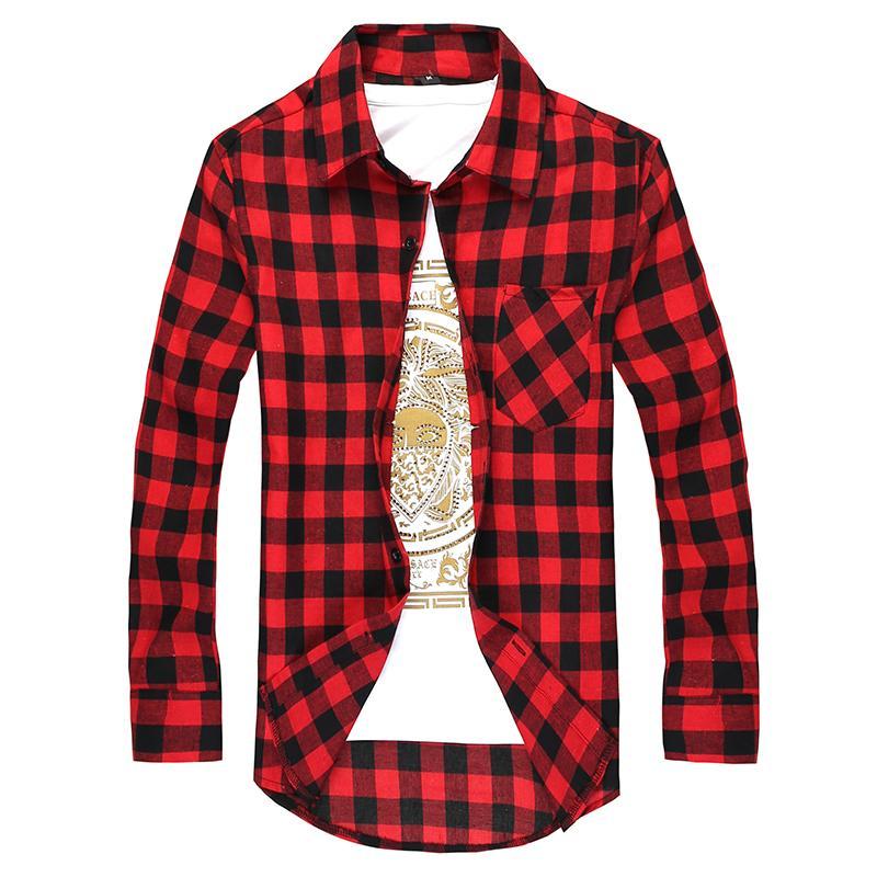 2016 Acheter Noir Gros Plaid Shirt Hommes Chemises Rouge Et En rBrwzqH