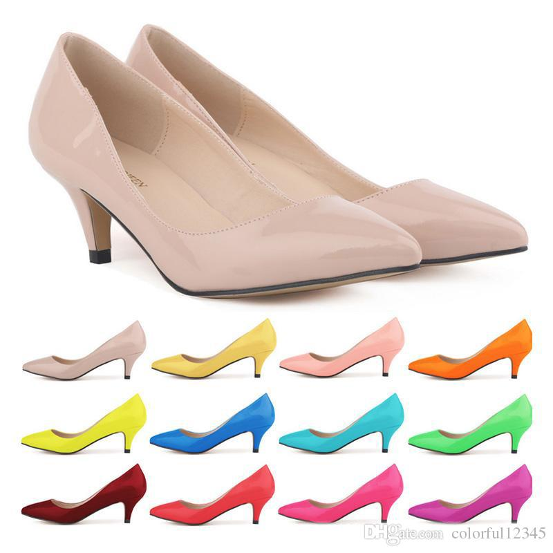 2017 Sapatos Feminino Fashion Womens Sexy Low Mid Kitten Heels Shoes Pu Patent Leather Pointed Pumps