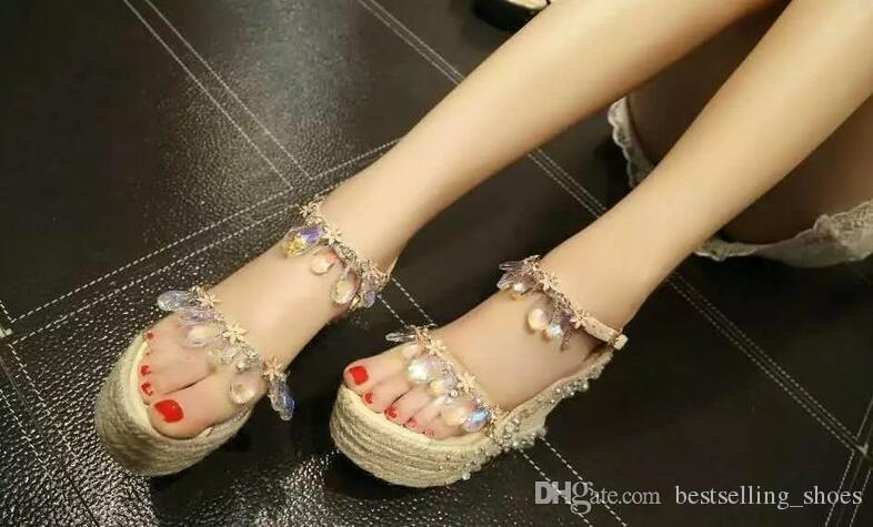 9a5b6534a7876 European Station New Women S Sandals 2017 Summer Leather Diamond Shoes High  Heels Wild Fashion Tide Pointed Toe Sandals Cheap Shoes Wedge Sneakers From  ...