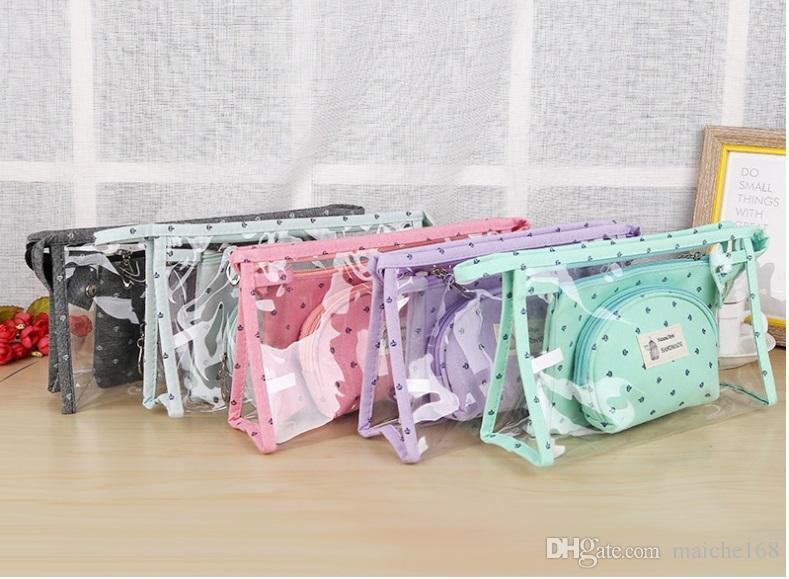 Bonito simples saco de cosmética de viagem portátil grande capacidade de lavagem saco feminino mini saco de três conjuntos