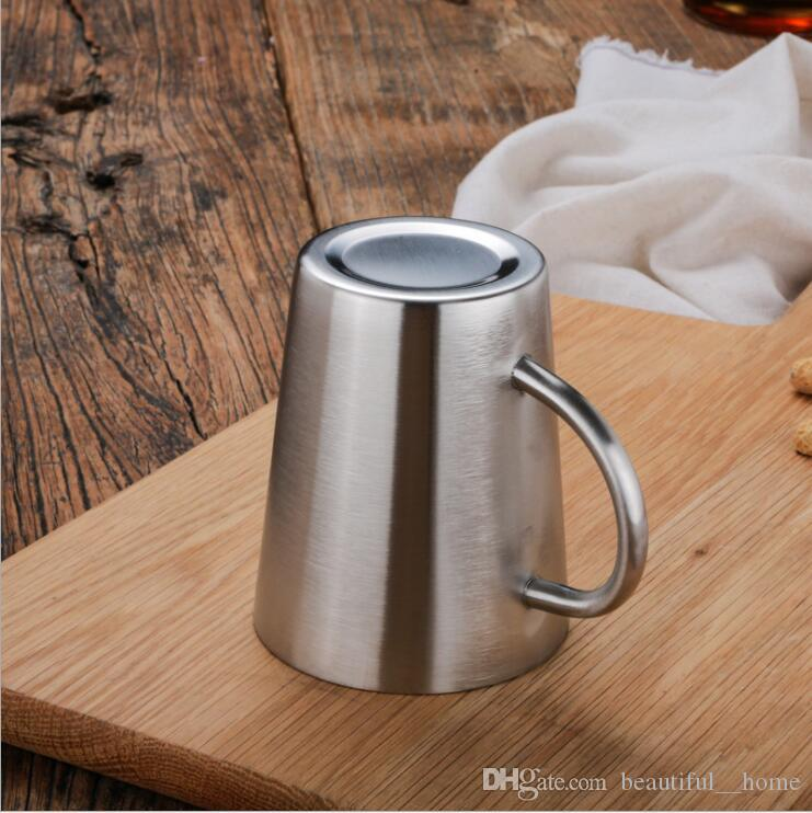 304 stainless steel double layer coffee cup beer cup stainless steel cup heat insulation and anti ironing household products DHL ship