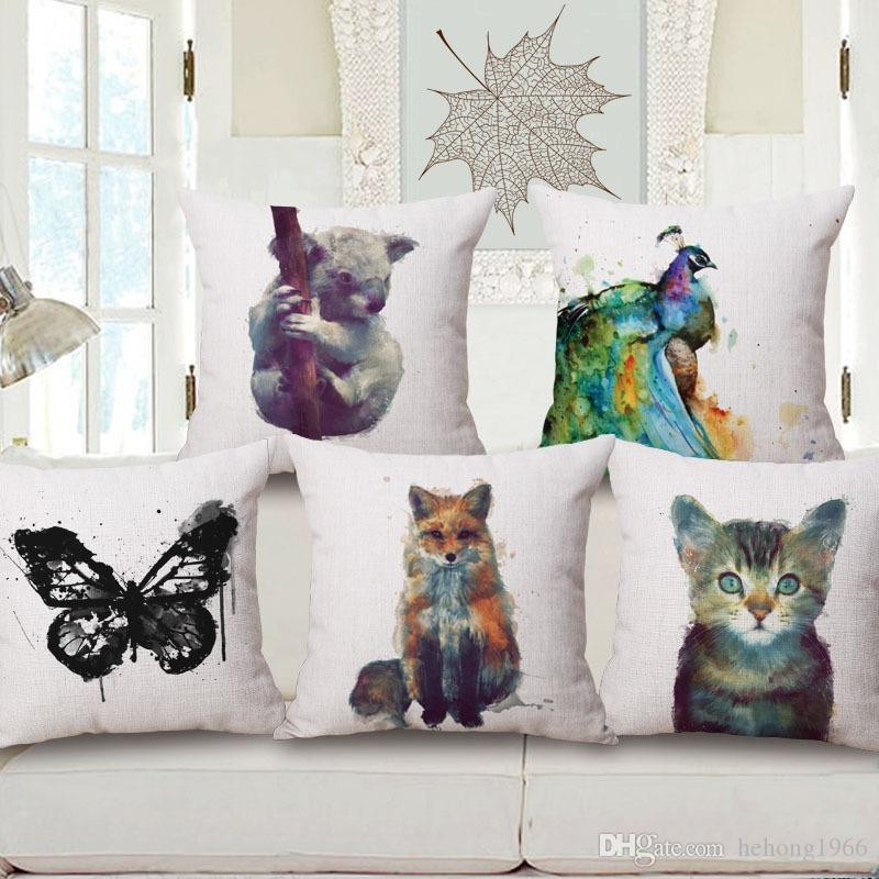 Animal Pillows Watercolor Design Bolster Cushion Cover Made Of Cotton Pillow Multi Pattern Customized Cushions Bedroom Decor Hot 15mq A R