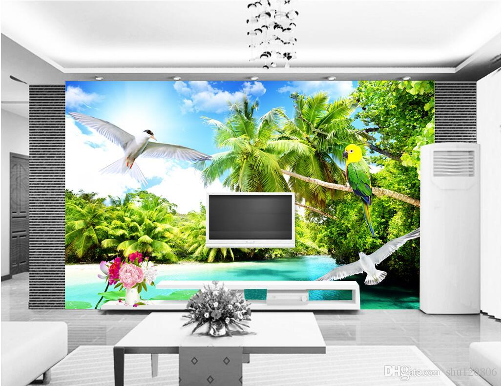 3d room wallpaper custom photo mural Outdoor beach coconut tree scenery background w painting picture 3d wall murals wallpaper for walls 3 d
