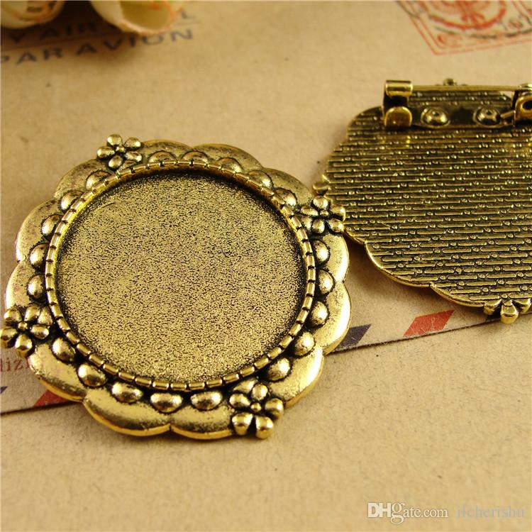 Fit 25MM Round brooch pin metal stamping blank tray, vintage golden antique bronze pendant base, tibetan silver bezel cameo cabochon setting