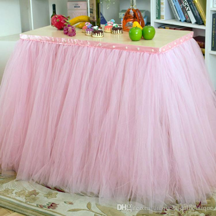 Wedding Birthday Party Table Tulle Tutu Skirt 2017 Custom Made 91.5*80cm Fashion Home Decor Table Skirt Holiday Festival Party Tablecloth