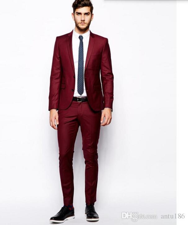 Özel yapılmış erkekler takım elbise slim fit Kırmızı Çentikli Yaka damat takımları tek göğüslü İş Suit Erkekler Düğün Sağdıç Takım Suits ceket + pantolon