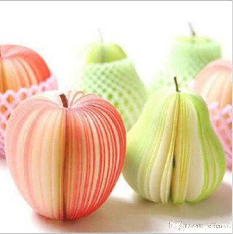 Creativo DIY fruta Blocs de notas kawaii Pegatinas bloc de notas de papel Manzana verde pera Fruta Papel Nota / Bloc de notas blocs de notas adhesivos