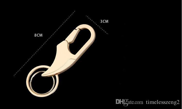 Custom Lettering Fashion Key Chain Double Loops Pants Buckle Key Ring Waist Belt Clip Key Holder Metal Car Keychain