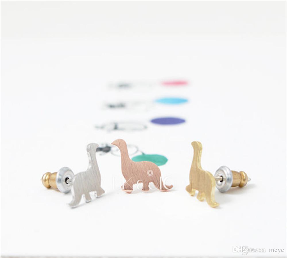 Fashion dinosaur stud earrings Gold Color/silver plated/rose Gold Color stud dinosaur earrings wholesale jl-070