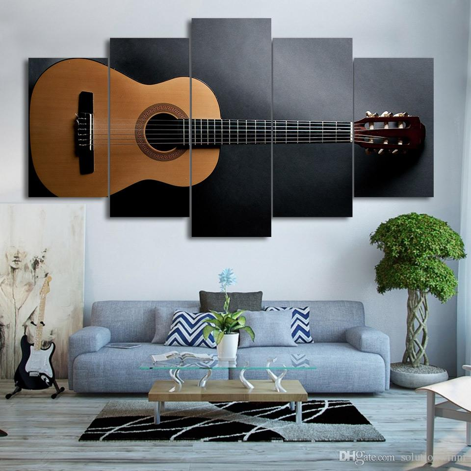 Framed HD Printed Music Guitar Painting Wall Art For Kid Room Canvas Print Poster Canvas Pictures Painting