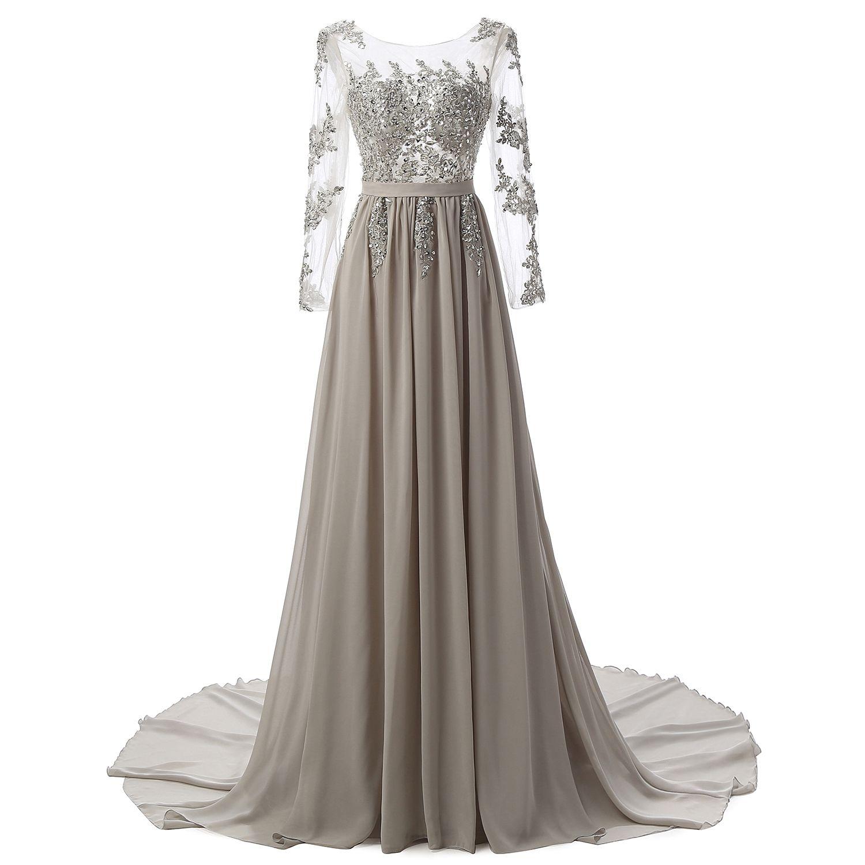 Großhandel Langen Ärmeln Perlen Abendkleider Party Elegante Kleider ...