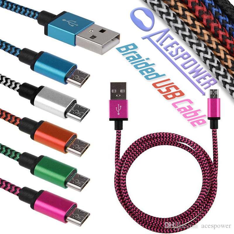 USB Тип C Кабели нейлоновые плетеные V8 Micro USB Линия синхронизации данных Синхронизация Зарядное устройство Кабельное Шнур Плетение Веревка Кабельная линия данных для смартфона Samsung