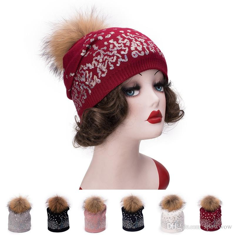 06e6ee5de82 Womens Shimmer Sequin Cashmere Wool Beanie Fur Pom Pom Skull Ski Cap Winter  Double Layer Hat T300 Womens Knitted Beanies Fur Pom Pom Hat Double Layer  Hat ...