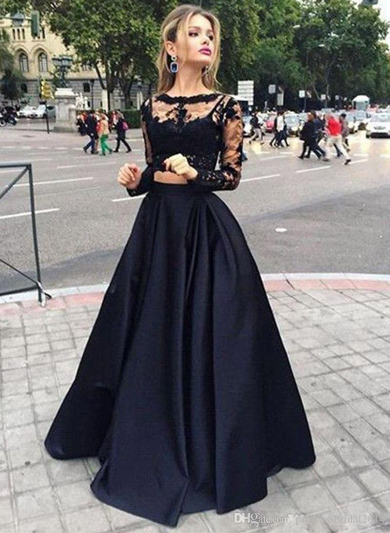 f04b3bf94b0 Long Sleeves Black Two Pieces Prom Dresses Lace Top And Satin Sheer Bateau  Neck Special Occasions Gowns Victorian Style Party Dress Short Prom Dress  Uk ...