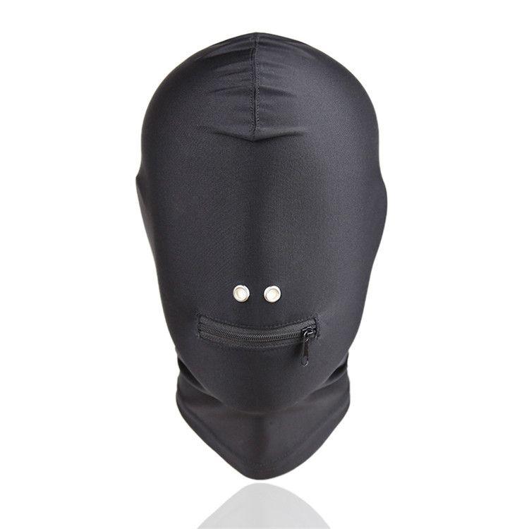 New Arrival Adult games Fetish Hood Mask BDSM Bondage Black Spandex Zipper Open Mouth Mask Sex Toys For Couples