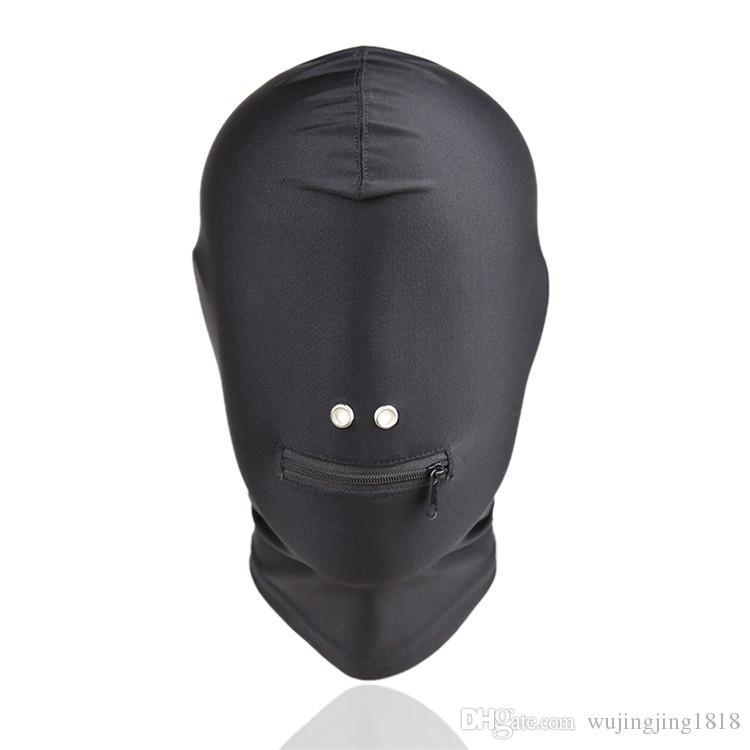 Nuovo arrivo Giochi adulti Fetish Hood Mask BDSM Bondage Black Spandex Zipper Open Bocca Mask Sex Toys coppie