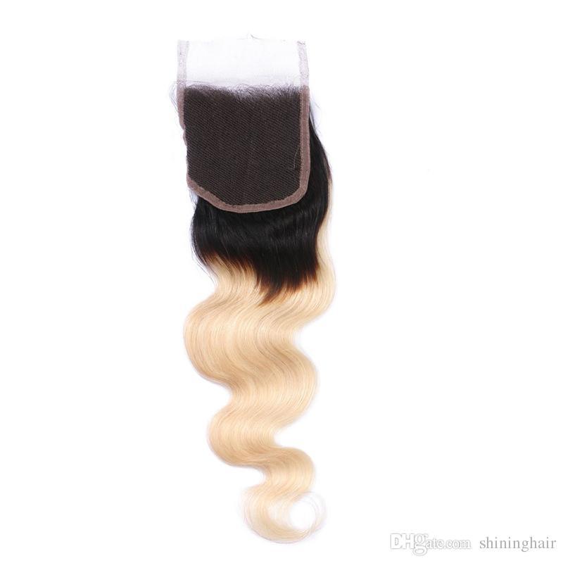 9A Blonde Bundles Mit Verschluss Körperwelle Brasilianisches Reines Haar Mit 4 * 4 Verschluss Freies Mittel Drei Teil Menschliches Haar 3 Stücke spinnt Verschlüsse