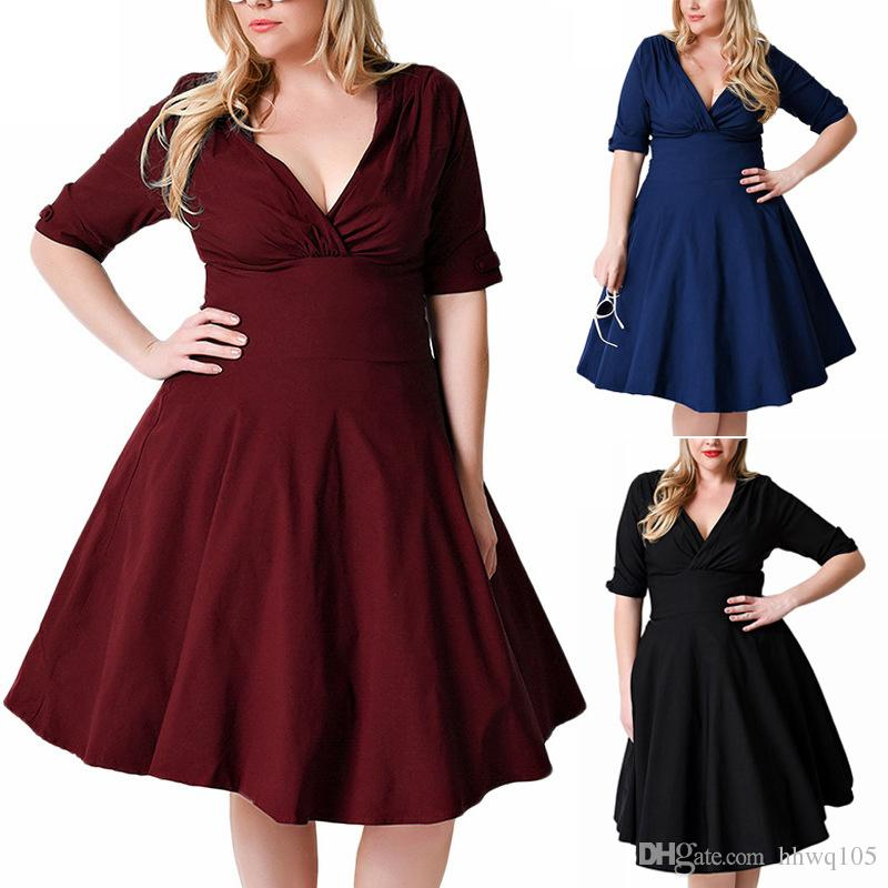 New Women Plus Size Wrap Dress Sexy Deep V Neck A Line Club Party