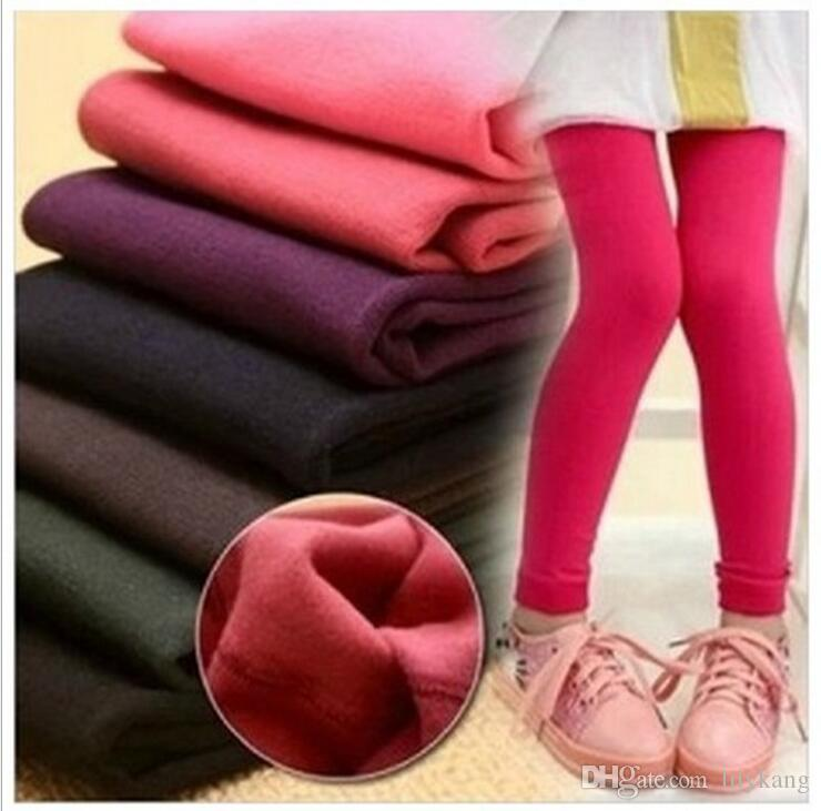 2016 new Spring Winter Kids Warm tights Candy Colors baby fleece Legging Pants baby pants Elastic velvet Leggings