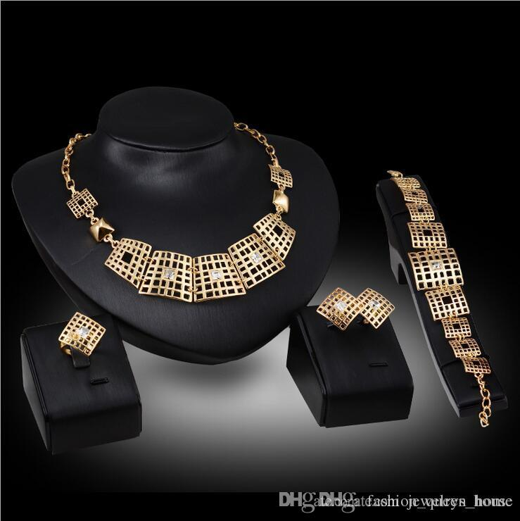 12set Austrian Crystal Hollow Design Jewelry Set Women's Gold Color Wedding Leaves Necklace Earrings Bracelet Ring Sets F10347