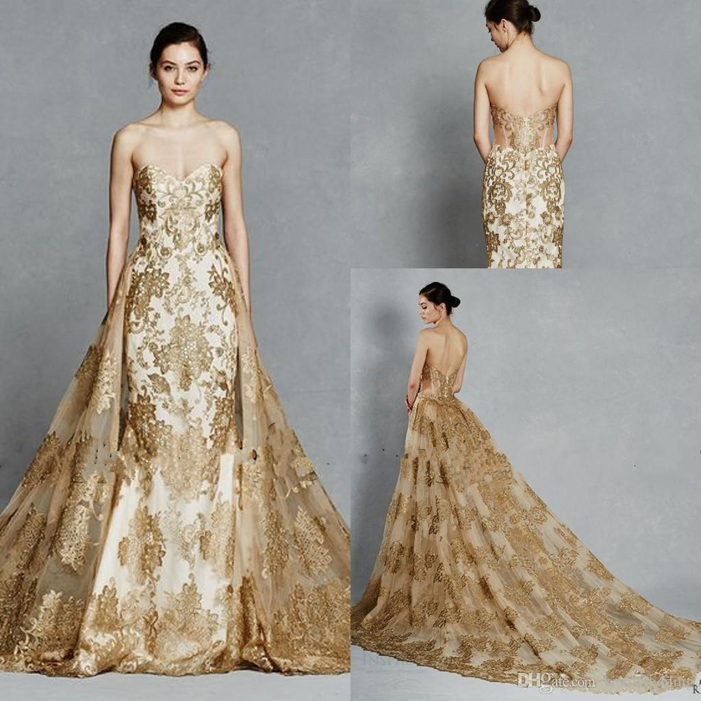 Hot Sales Gold Wedding Dresses Lace Overskirts Dress Wedding Gown ...