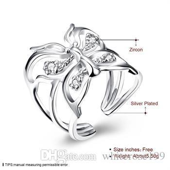 Wholesale  - 小売価格クリスマスプレゼント、送料無料、新しい925銀ファッションリングR35