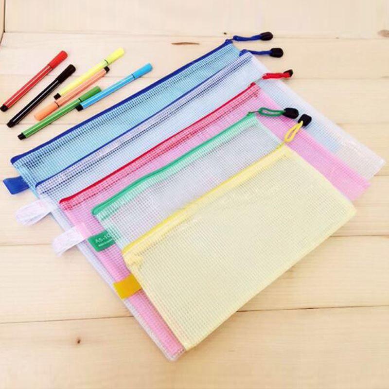 10 pcs/lot Gridding Waterproof Zip Bag Document Pen Filing Products Pocket  Folder Free shipping Office & School Supplies