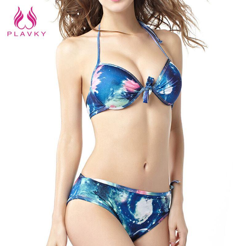 3190cf50df 2019 Sexy Women Push Up Bikini Tie Dye Galaxy Print Bandeau Brazilian Swimsuit  Beachwear Bathing Suit Female Plus Size Swimwear From David2004