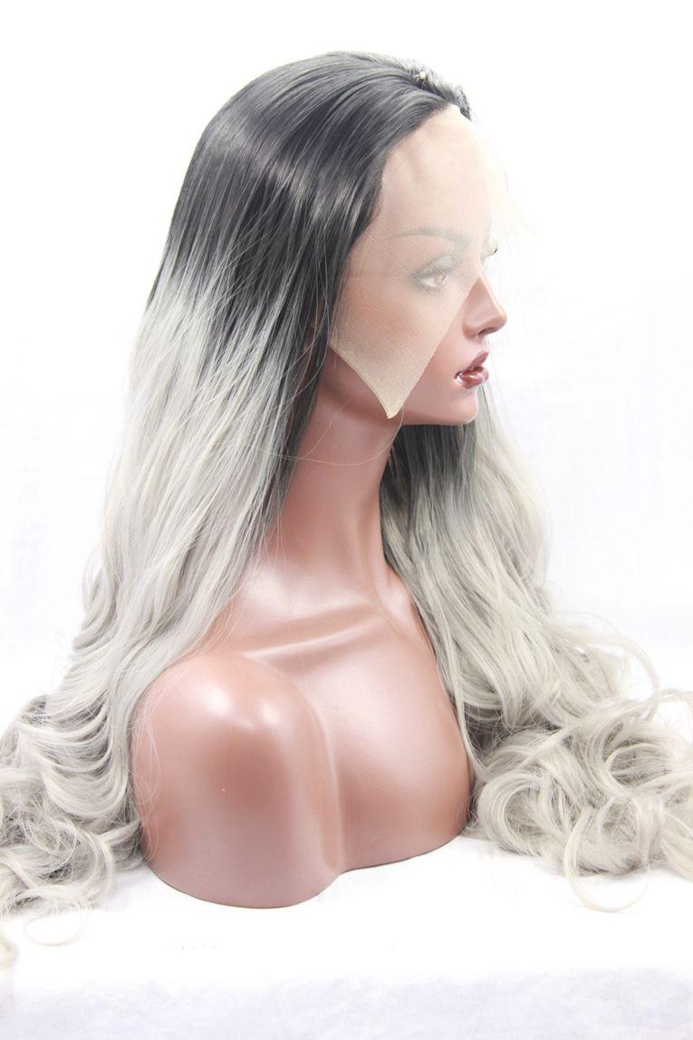 Nouveau Design Sexy Ombre Cheveux Synthétique Lace Front Perruque Corps Vague Couleur Noir Au Vert Deux Tons Pas Cher Ondulé Dentelle Perruques Pour Les Femmes Noires