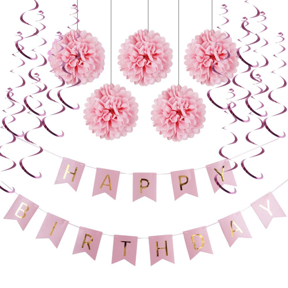Pink,Blue Paper Decoration Set Happy Birthday Banner,Foil ...