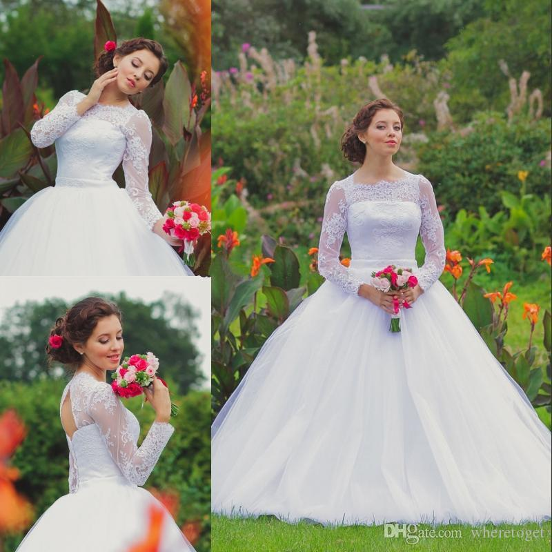 ca1cb0ca6997d Romantic Lace Ball Gown Wedding Dresses Modest Long Sleeves Corset Illusion  Sheer Neckline Lace-up Puffy Sweep Train Tulle Bridal Gowns