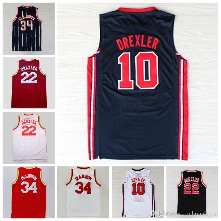 2017 MenS 34 Hakeem Olajuwon Jersey Throwback Uniform 1992 Usa Dream Team  Basketball Jerseys 10 Clyde Mens Adidas Houston Rockets ... 4c623745f