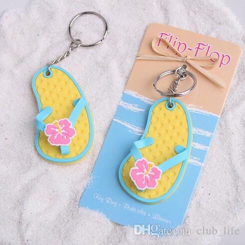 """Wholesales """"Flip Flop"""" Tropical Flower Key Chain Good For Wedding Favors and Party Gift"""