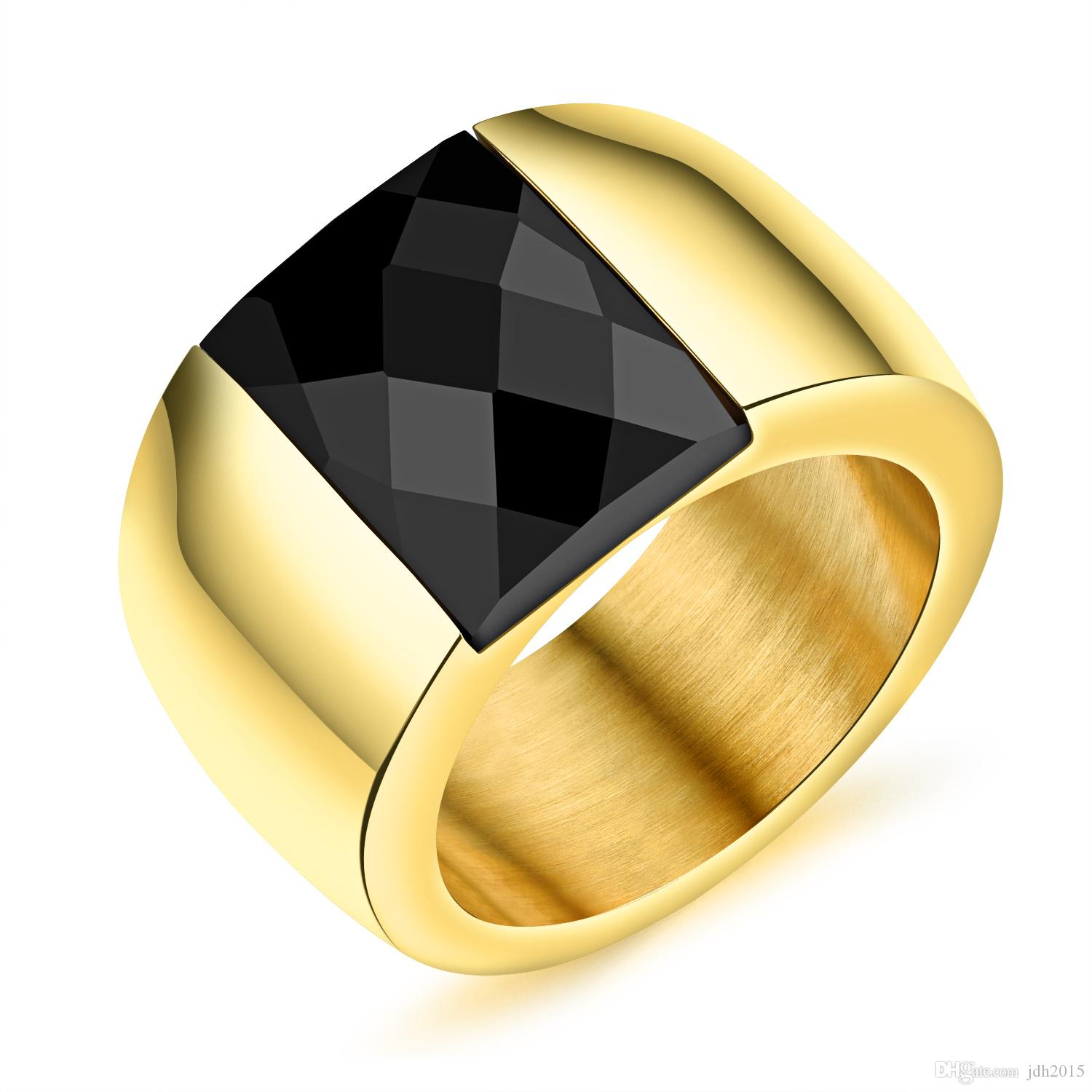 fashion stainless steel vintage square black agate signet rings