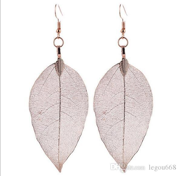2017 Fashion Bohemain Long Earrings Unique Natural Real Leaf Big Earrings For Women Fine Jewelry Gift G105