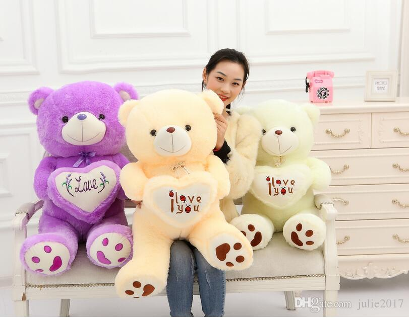 Oso de peluche Muñeca suave Juguete de felpa Amor Oso Animal de peluche Gran oso creativo Sostenga el corazón regalo de cumpleaños