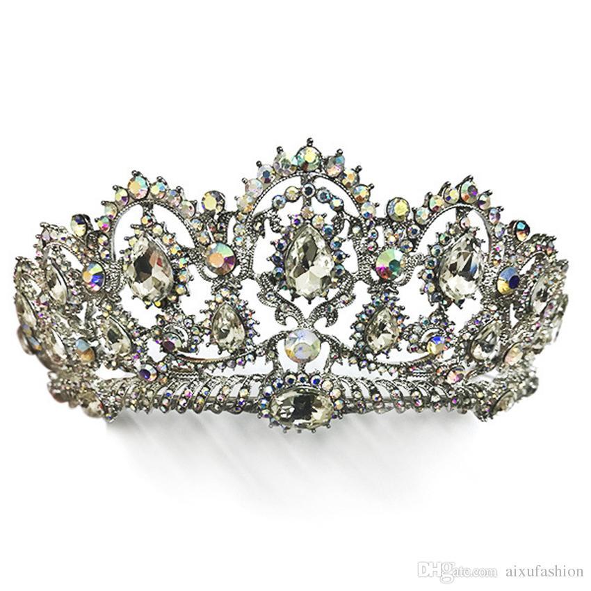 Vintage Crown Big Rhinestone Prom Princess Crystal Bride Crown Tiara Headpiece Bridal Hair Jewelry Pageant Wedding Hair Accessories Headband
