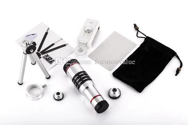 Universal 18X Zoom Optisches Teleskopobjektiv 180 Grad Fisheye Weitwinkel-Makroobjektiv mit Mini-Stativ für Samsung iPhone Xiaomi