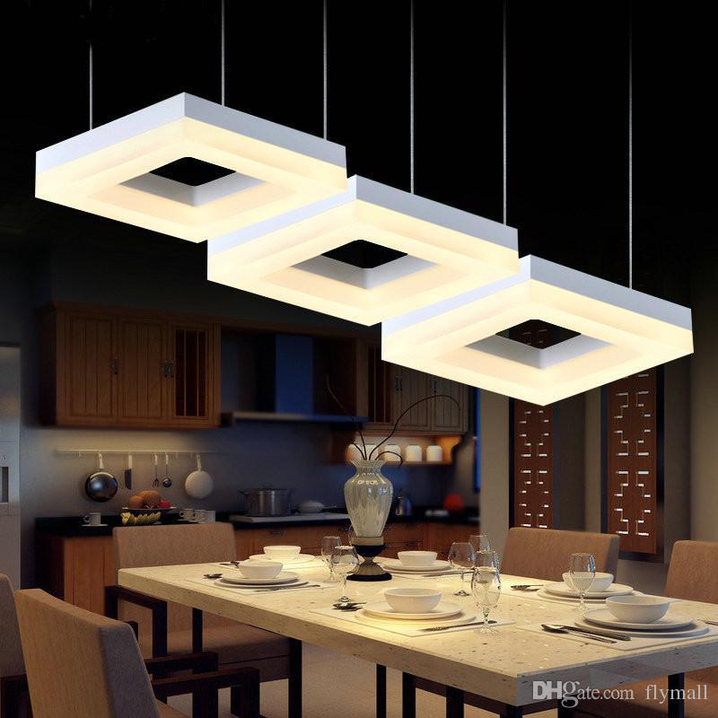 Led quadrado Arcrylic lâmpadas de pingente escritório sala de estudo iluminação comercial Sala de jantar Cozinha Bar Moderna lâmpada led iluminação interior