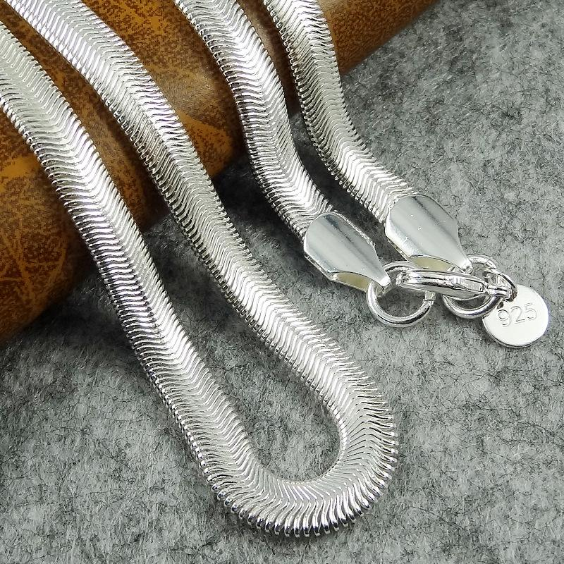 "6MM 925 Sterling Silver Smooth Snake Chain Necklace Jewelry 16-24"" Mix Size DHL"