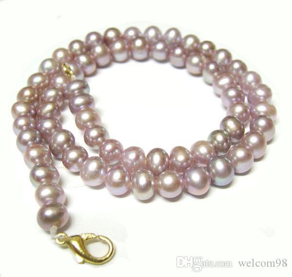 10 unids / lote Púrpura Redonda de Perlas de Agua Dulce Collar de la Manera Broche de Langosta Para DIY Regalo de La Joyería 16 pulgadas P10 Envío Gratis