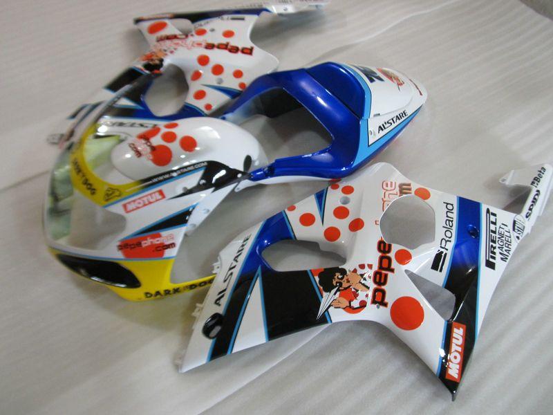 Verkleidungssatz für Suzuki GSXR1000 00 01 02 weiß blau Verkleidungssatz GSXR1000 2000 2001 2002 OT03