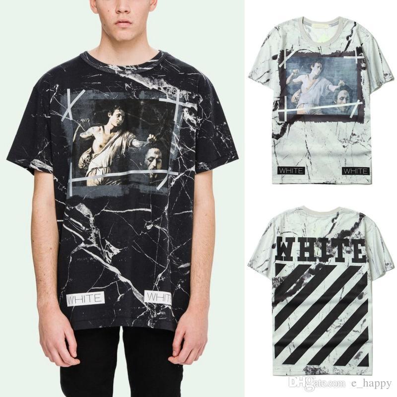 Compre Off White Marble Print Camiseta Hombres Negro Blanco Diagonal  Caravaggio Camiseta Camiseta De Manga Corta De Algodón Hip Hop Tops Crg0325  A  11.26 ... b3d1d32d52b9c