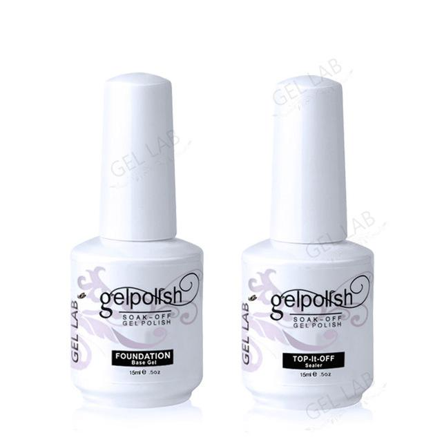 Wholesale-GEL LAB 15ml Base Coat + Top Coat Set for Nails Gelpolish