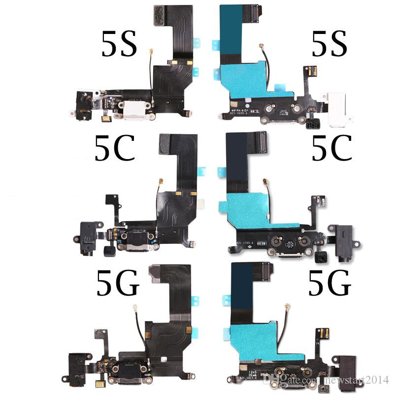 Top Quality For iPhone 5 5g 5C 5S Plus Charger Charging port Dock USB connector flex cable replacement Parts