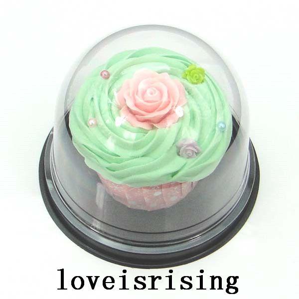 Alta calidad - = Cajas de Cupcake de plástico transparente favorece Cajas de caja de regalo de la boda decoración de bandejas de bodas Cupcake Cake Dome